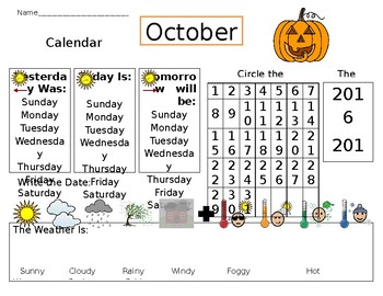 EDITABLE Calendar Worksheet - Visual for Autism