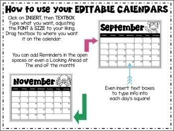 EDITABLE Calendars 2017 - 2018