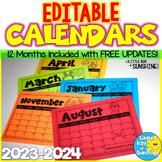 EDITABLE Calendars 2018 - 2019