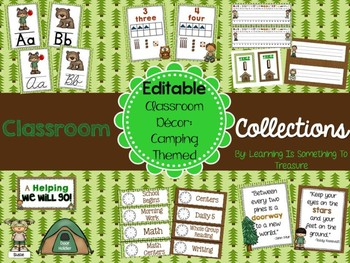 Camping Theme Decor EDITABLE