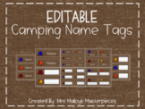 EDITABLE Camping Name Tags