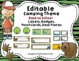 EDITABLE! Camping Theme Deskplates, Behavior Punch Cards, Labels and Badges