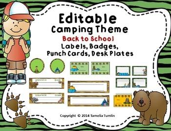EDITABLE! Camping Theme Deskplates, Behavior Punch Cards,