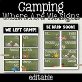 EDITABLE Camping Theme 'Where Are We?' Door Signs