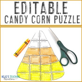 EDITABLE Candy Corn Puzzle - Make your own Halloween Craft, Activities, & MORE!