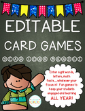 EDITABLE Card Games YEAR LONG SET