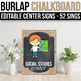 EDITABLE Center Signs Editable, Center Signs Preschool, Burlap Chalkboard Decor