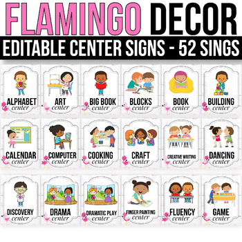 EDITABLE Center Signs Editable, Center Signs for Preschool, Flamingo Classroom