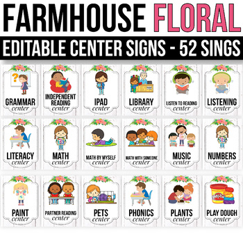 EDITABLE Center Signs Editable, Center Signs for Preschool, Floral Classroom