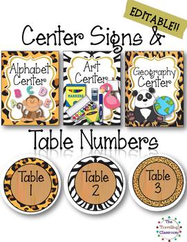 EDITABLE Center Signs & Table Numbers {Jungle Zoo Safari Theme}