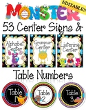 EDITABLE Center Signs & Table Numbers Monster Theme