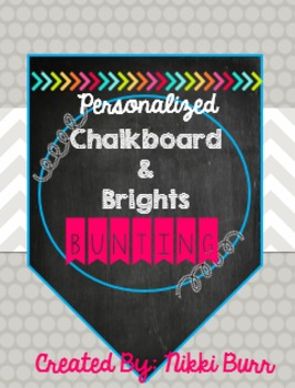 EDITABLE Chalkboard & Brights Bunting/Banners