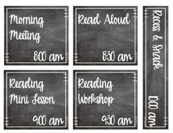 EDITABLE Chalkboard Daily Schedule Cards