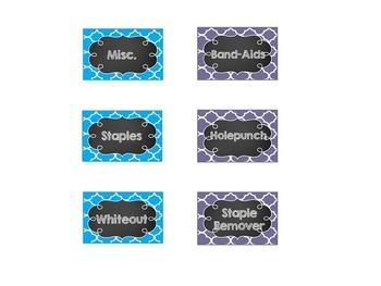 EDITABLE Chalkboard Teacher Toolbox Labels- Blue, Green, and Purple