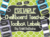EDITABLE Chalkboard Teacher Toolbox Labels- Blue, Green, a