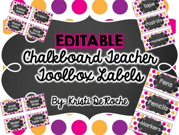 EDITABLE Chalkboard Teacher Toolbox Labels- Pink, Purple and Gold Dots