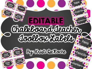 EDITABLE Chalkboard Teacher Toolbox Labels- Pink, Purple a