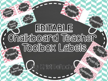 EDITABLE Chalkboard Teacher Toolbox Labels- Pink and Turqoise