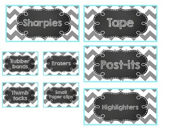 EDITABLE Chalkboard Teacher Toolbox Labels- Turquoise & Grey