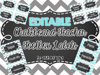 EDITABLE Chalkboard Teacher Toolbox Labels- Turquoise & Grey