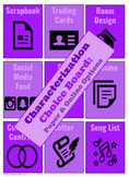 EDITABLE Characterization Choice Board Activities/Assignme