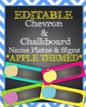 EDITABLE Chevron Apple & Chalkboard Themed Name Plates/Desk Tags/Signs