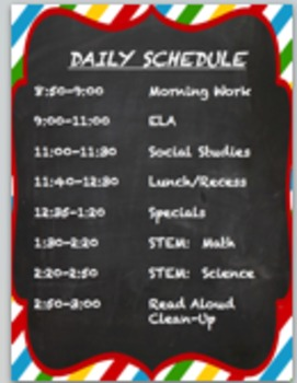 EDITABLE Chevron-Chalkboard Daily Schedule Sign