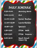 EDITABLE Chevron-Chalkboard Daily Schedule Sign
