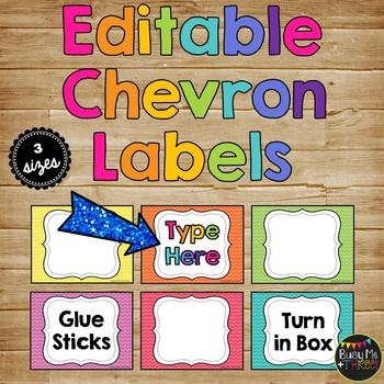 {EDITABLE} Chevron Labels for Classroom Organization, Decor