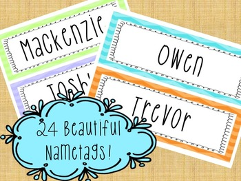 EDITABLE Chevron Name Tags