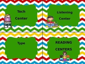 EDITABLE Chevron Reading Center Labels