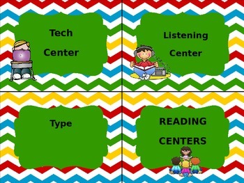 EDITABLE Chevron Reading Center Labels