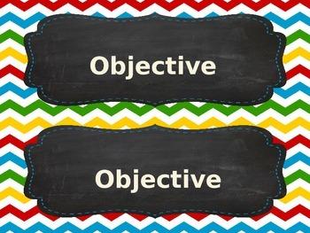 EDITABLE Chevron Theme Focus Objective Labels