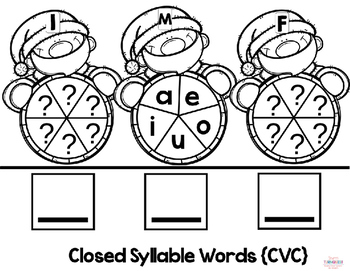 EDITABLE Christmas Holiday Spinner Word Building Activity