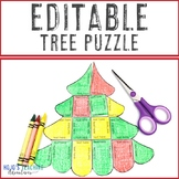 EDITABLE Christmas Tree Activities | Make Your Own Math or Literacy Puzzles