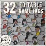 EDITABLE Circle Name Tags {32 Different Options}