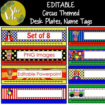 EDITABLE Circus Desk Plates, Name Tags