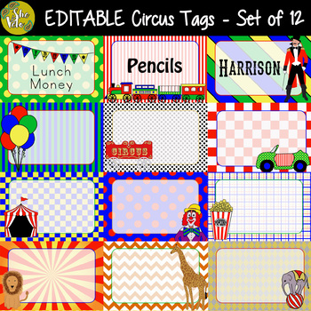 EDITABLE Circus Labels, Tags, Door Decor - Set of 12