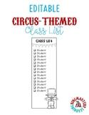 EDITABLE Circus-Themed Class Checklist
