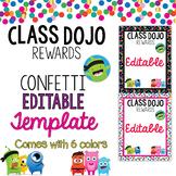 EDITABLE Class DOJO Rewards Poster   Class DOJO confetti theme   colorful DOJO
