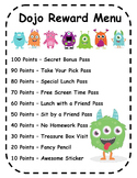 EDITABLE! Class Dojo Reward Menu and Certificates