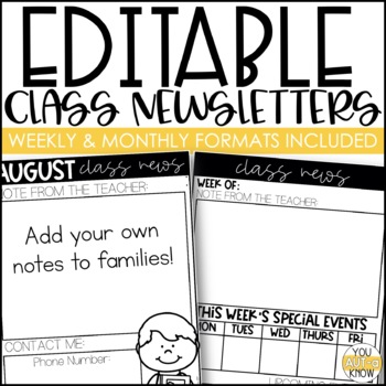 editable class newsletter templates by erin hagey from you aut a know
