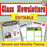 Newsletter Templates Editable: Weekly and Monthly Themed Class Newsletters