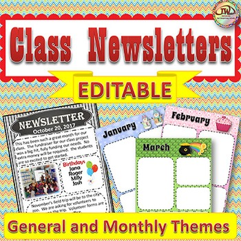 EDITABLE Class Newsletters Templates