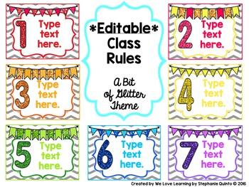 EDITABLE Class Rules- A Bit of Glitter Theme