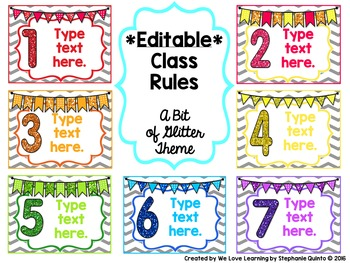EDITABLE Class Rules- A Bit of Glitter Theme