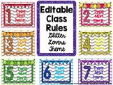 EDITABLE Class Rules- Glitter Lovers Theme