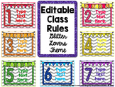 EDITABLE Class Rules- Glitter Lovers Theme