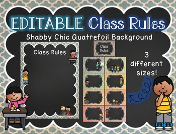EDITABLE Class Rules Posters with Shabby Quatrefoil Background