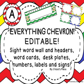 EDITABLE BACK TO SCHOOL Class Signs, Labels, Word Wall & C